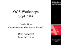 OGS Application Tips - Current Grad Students