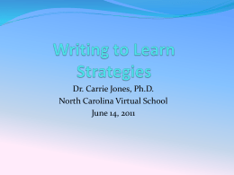 Writing to Learn Strategies - onlinesummer