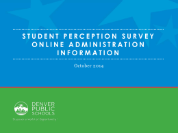 Student Perception Survey Overview