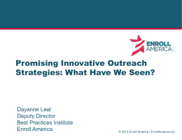 Enroll America: Innovative Outreach Strategies to