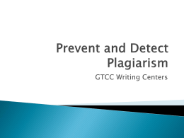 Preventing and Detecting Plagiarism