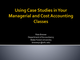 Managerial Accounting - Henry W. Bloch School of Management