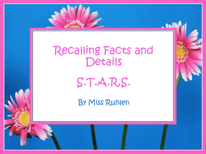 STARS Lesson 2- Recalling Facts and Details