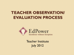 Session 1: Observing Teaching