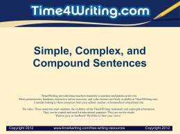 Simple, Complex, and Compound Sentences