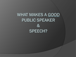 What makes a good speech