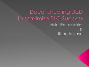 Deconstructing UbD to Maximize PLC Success