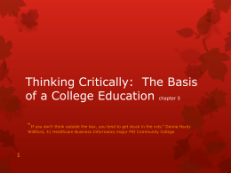 Thinking Critically: The Basis of a College Education chapter