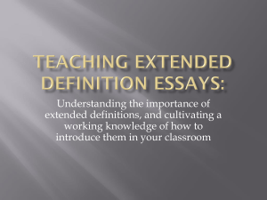 Teaching Extended Definition Essays: