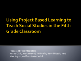 Project Based Learning Proposal