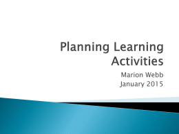 Planning Learning Activities