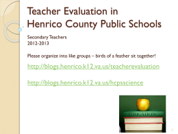 Teacher Evaluation in Henrico County Public Schools