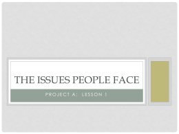 The Issues People Face Lesson 1