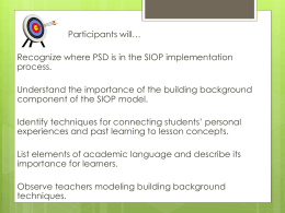Where is PSD in the SIOP Process