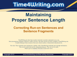 WritingSentences_FragmentsRunOns PPT