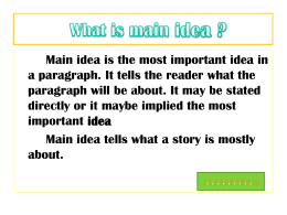 Recognize and finding the main idea of paragraph?