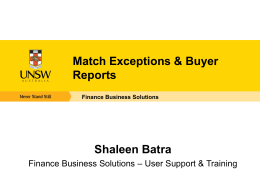 Match Exceptions and Buyer Reports Presentation