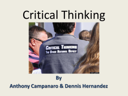 Final Critical Thinking for USF