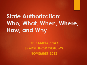 Who, What, When, Where, How, and Why State Authorization