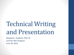 Technical Writing and Presentation
