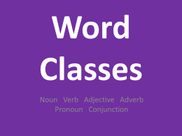 Word Classes - Elstow School