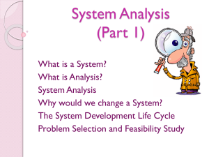 System Analysis (Part 1)