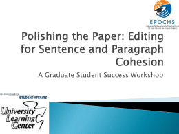 Polishing the Paper: Editing for Sentence and