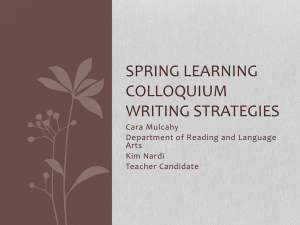 Spring Learning Colloquium Writing Strategies