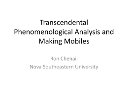 Transcendental Phenomenological Analysis and Making Mobiles