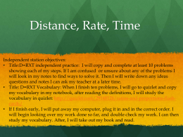 Distance, Rate, Time - Ms. Martinez Math Class Website