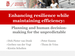 Enhancing resilience while maintaining efficiency: