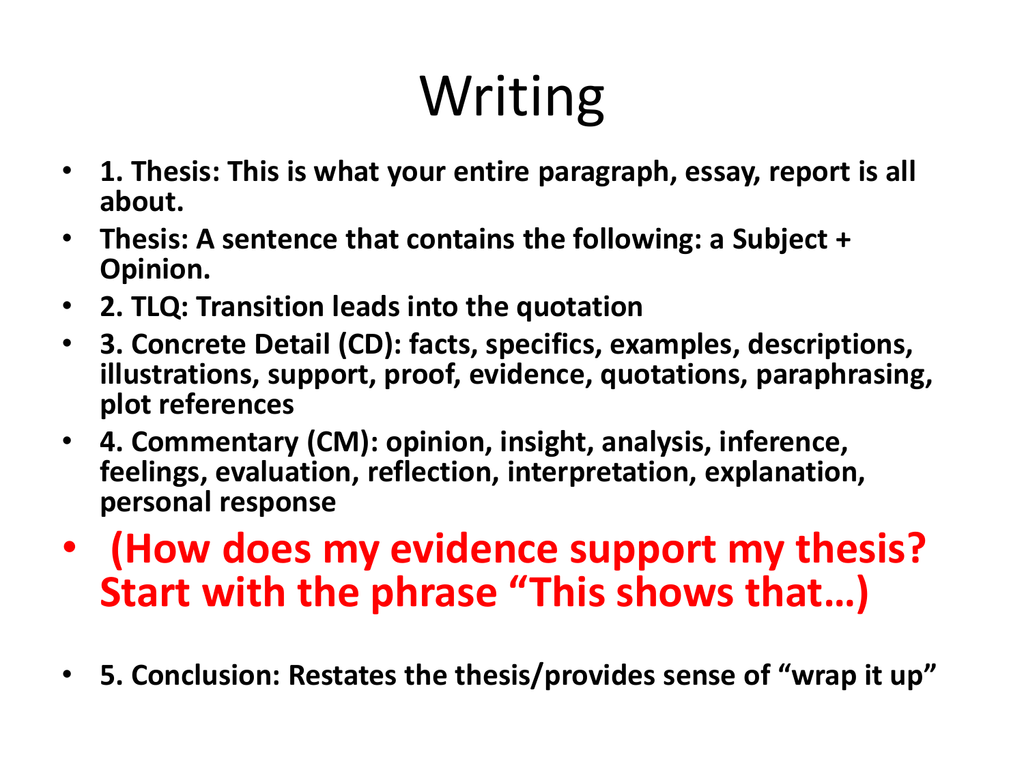 supporting the thesis The thesis statement is then proven throughout the paper with supporting evidence when learning to write thesis statements, you may be taught to write a three-pronged thesis statement this is a sentence that includes three reasons to support the thesis.