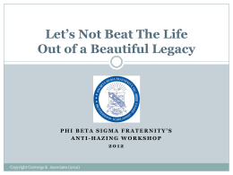 Is it Hazing? - Phi Beta Sigma Fraternity, Inc.