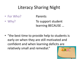 Literacy Night PowerPoint