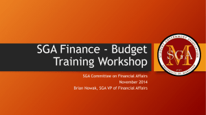 SGA Finance - Budget Training Workshop - UMD SGA