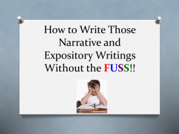 How to Write Those Narrative and Expository Writings Without the
