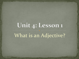 Unit 4 L1 What is an Adjective