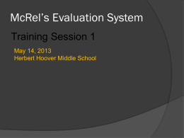 McRel Teacher Evaluation PowerPoint