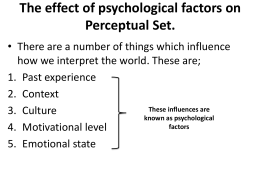 3b The effect of psychological factors on Perceptual Set chp 3