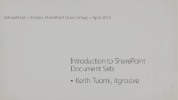 vSharePoint April 2013 – SharePoint Document Sets