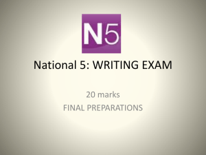 National 5: WRITING EXAM - Hyndland Secondary School