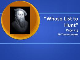 whoso list to hunt summary