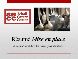 Résumé Workshop for Culinary Arts