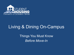 Living & Dining On-Campus - Division of Undergraduate Education