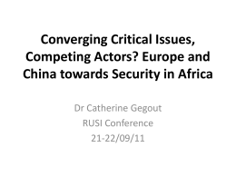 Converging Critical Issues, Competing Actors? Europe and China
