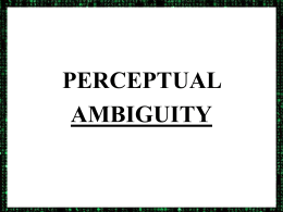 PERCEPTUAL AMBIGUITY ALTERING YOUR PERCEPTION Love