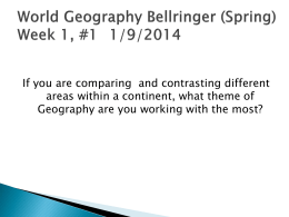 World Geography Bellringer (Spring)