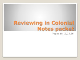Reviewing in Colonial Notes packet