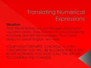 Translating Numerical Expressions