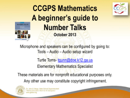 Intro to Number Talks Powerpoint - Kentucky Center for Mathematics